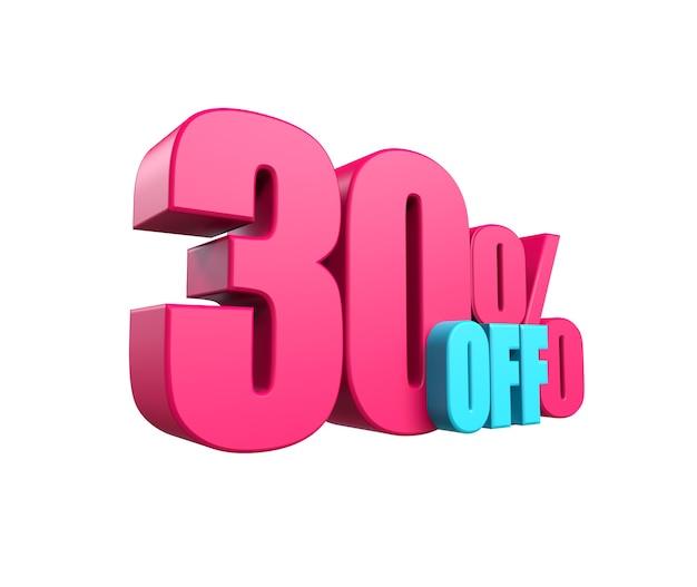 밝은 분홍색, 방대한 3d 비문: 30% 할인, 흰색 배경에 격리됨. 디자인 할인, 디자인, 판매, 웹 요소입니다. 3d 렌더링