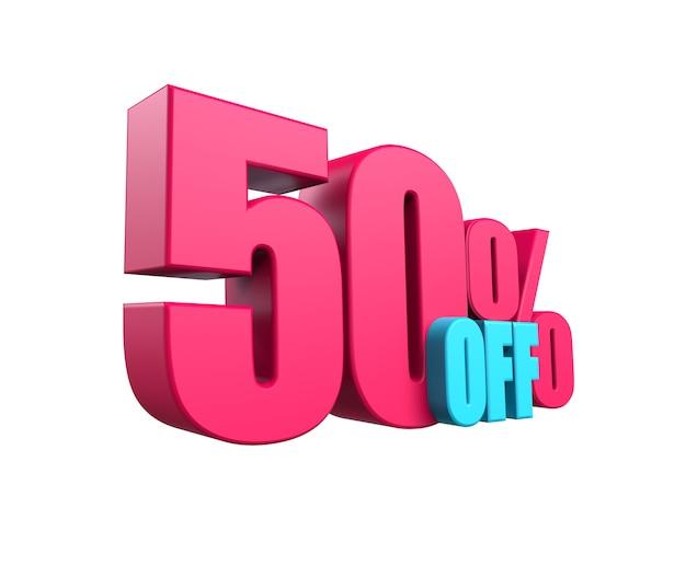 Ярко-розовая, объемная 3d надпись: скидка 50% на белом фоне. элемент для дизайна скидки, дизайн, распродажи, интернет. 3d визуализация