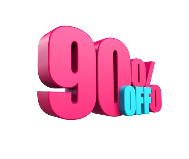 밝은 분홍색, 볼륨 있는 3d 비문: 90% 할인, 흰색 배경에 격리. 디자인 할인, 디자인, 판매, 웹 요소입니다. 3d 렌더링