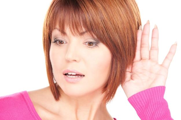 Bright portrait of lovely woman listening gossip