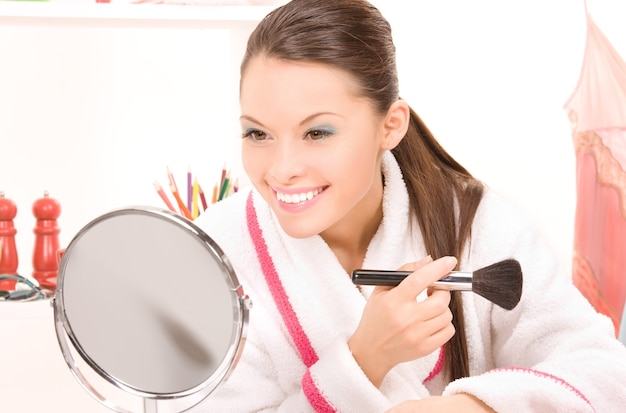Bright portrait of lovely woman with brush
