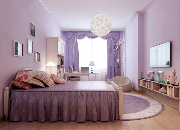 Bright provence room idea with luxurious bed with pillows in classic style.