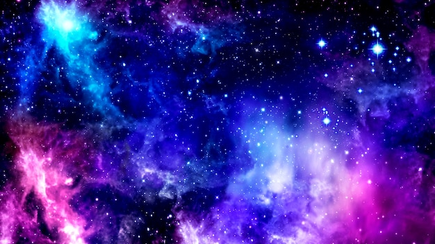 Bright purple cosmic background with nebulae and cluster of shining stars