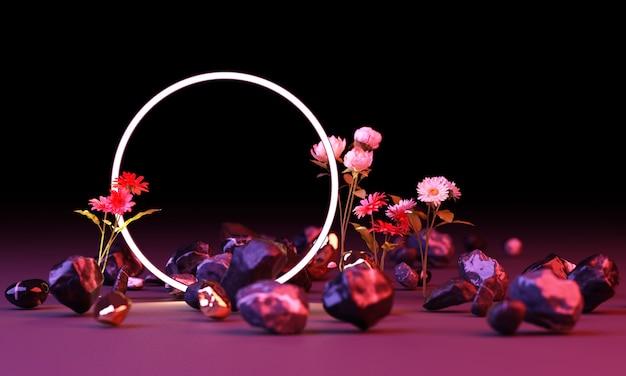 Ярко-красный и синий цвет свечения из геометрических фигур с красным цветком 3d-рендеринга