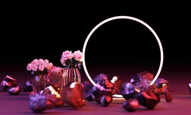 Ярко-красный и синий цвет свечения из геометрических фигур с белым цветком 3d-рендеринга