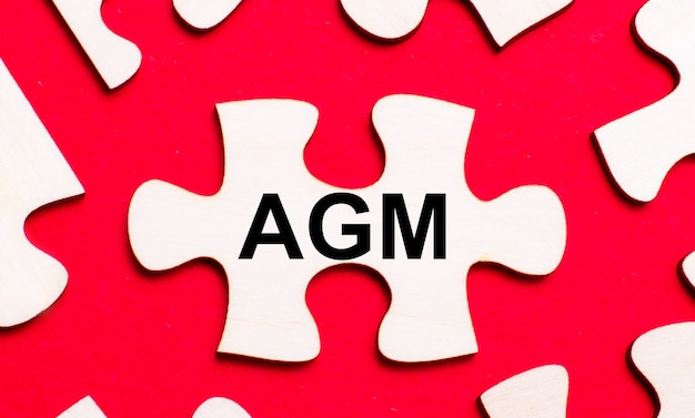 On a bright red background, white puzzles. in one of the pieces of the puzzle, the text agm annual general meeting