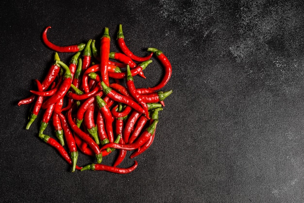 Bright red chilli pepper on a grey concrete. spicy food, ingredients.