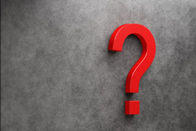 Bright red question mark on a dark background. 3d render.