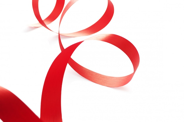 Bright red ribbon isolated on a white background. copy space