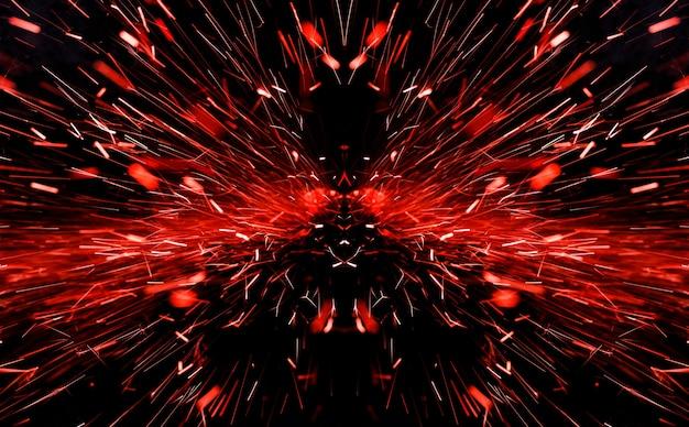 黒の背景に明るい赤い火花