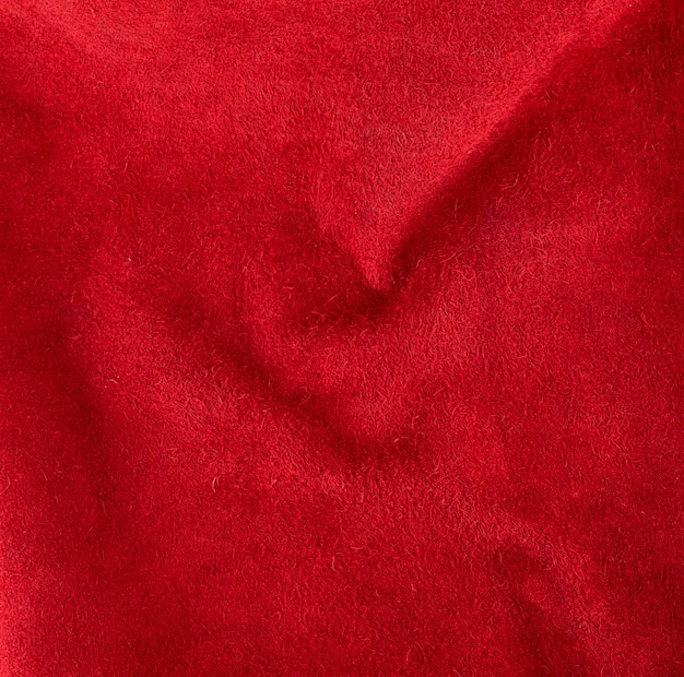 Bright red suede from cowhide