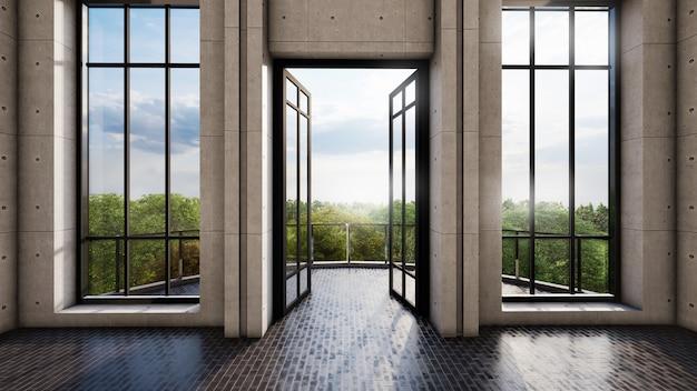 Яркий дизайн интерьера комнаты с дверью и высокими окнами