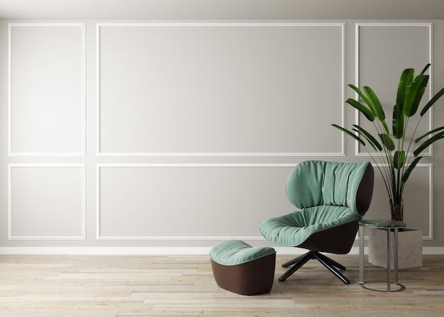 흰색 벽과 모형 가구를위한 스칸디나비아 스타일의 현대적인 가구가있는 밝은 방. 모형 거실. 3d 렌더링