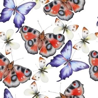 蝶との明るいシームレスパターン