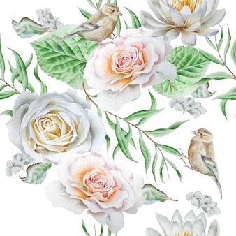 花や鳥との明るいシームレスパターン。ローズ。水彩。手で書いた。