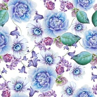 花と明るいシームレスパターン。アネモネ。牡丹。水彩イラスト。手で書いた。