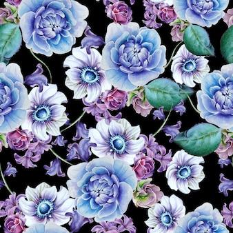 花と明るいシームレスパターン。アネモネ。牡丹。水彩イラスト。手で書いた。 Premium写真