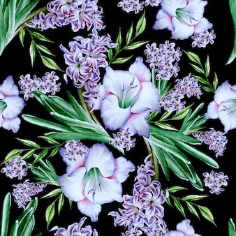 花と明るいシームレスパターン。グラジオラス。ヒヤシンス。水彩イラスト。手で書いた。
