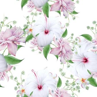 花と明るいシームレスパターン。ハイビスカス。ローズ。水彩イラスト。手で書いた。