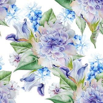 花と明るいシームレスパターン。ヒヤシンス。虹彩。アネモネ。水彩イラスト。手で書いた。