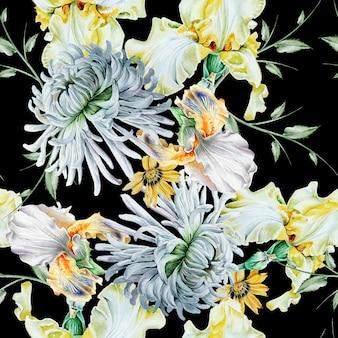 花と明るいシームレスパターン。虹彩。菊。水彩イラスト。手で書いた。