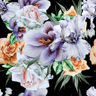 Яркий фон с цветами. ирис. крокус. роза. акварельная иллюстрация. нарисованный от руки.