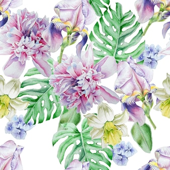 花と明るいシームレスパターン。虹彩。牡丹。水仙。水彩イラスト。手で書いた。