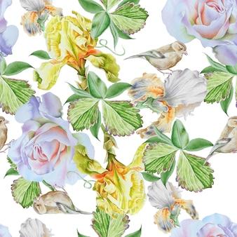 花と明るいシームレスパターン。虹彩。ローズ。鳥。水彩イラスト。手で書いた。