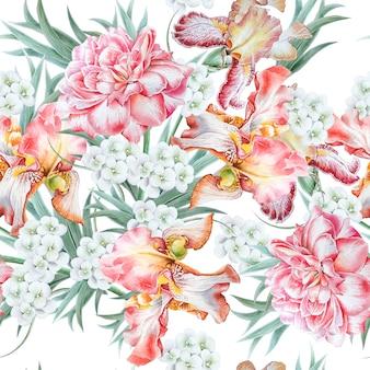 花と明るいシームレスパターン。虹彩。ローズ。水彩イラスト。手で書いた。