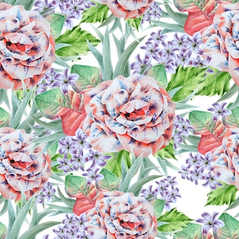 Bright seamless pattern with flowers. leaves. rose. watercolor illustration. hand drawn.