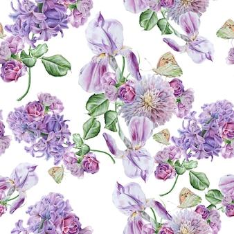 花と明るいシームレスパターン。ライラック。虹彩。バタフライ。水彩イラスト。手で書いた。