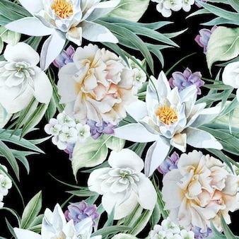 花と明るいシームレスパターン。リリー。ローズ。水彩イラスト。手で書いた。