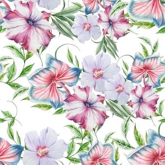 花と明るいシームレスパターン。蘭。ハイビスカス。ペチュニア。水彩イラスト。手で書いた。 Premium写真