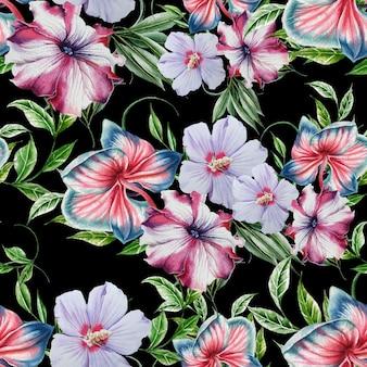花と明るいシームレスパターン。蘭。ハイビスカス。ペチュニア。水彩イラスト。手で書いた。