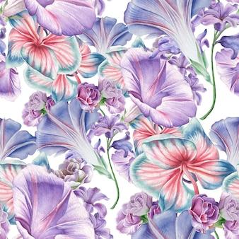 花と明るいシームレスパターン。蘭。ペチュニア。水彩イラスト。手で書いた。