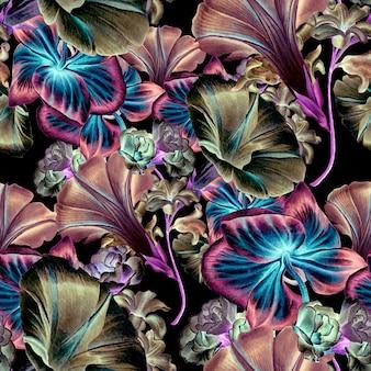 Яркий фон с цветами. орхидея. петуния. акварельная иллюстрация. нарисованный от руки.