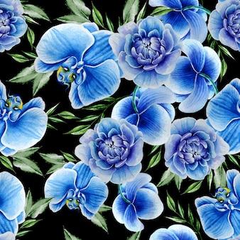 花と明るいシームレスパターン。牡丹。蘭。水彩イラスト。手描き。