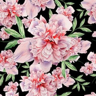 花と明るいシームレスパターン。牡丹。水彩イラスト。手で書いた。