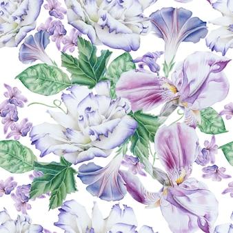 花と明るいシームレスパターン。ペチュニア。トルコギキョウ。虹彩。水彩イラスト。手で書いた