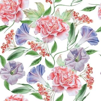 花と明るいシームレスパターン。ペチュニア。ローズ。ナナカマド。水彩イラスト。手で書いた。