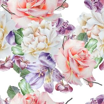花と明るいシームレスパターン。ローズ。アルストロメリア。蘭。水彩イラスト。手で書いた。