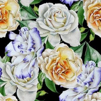 花と明るいシームレスパターン。ローズ。トルコギキョウ。水彩イラスト。手で書いた。