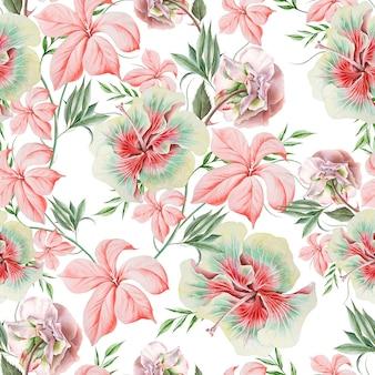 花と明るいシームレスパターン。ローズ。ハイビスカス。水彩イラスト。手で書いた。