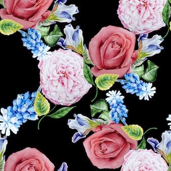 花と明るいシームレスパターン。ローズ。虹彩。ヒヤシンス。水彩イラスト。手で書いた。