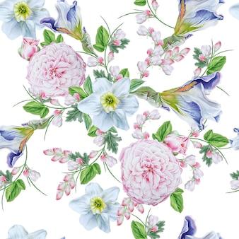 花と明るいシームレスパターン。ローズ。虹彩。水仙。水彩イラスト。手で書いた。