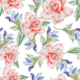 花と明るいシームレスパターン。ローズ。虹彩。水彩イラスト。手で書いた。
