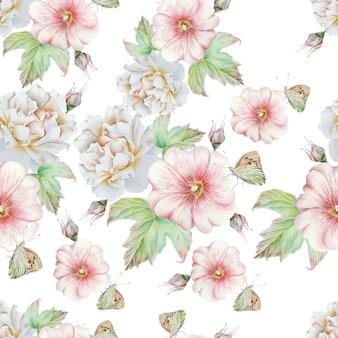 Яркий фон с цветами. роза. мальва. бабочка. акварельная иллюстрация. нарисованный от руки.