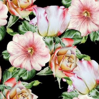 花と明るいシームレスパターン。ローズ。ゼニアオイ。水彩イラスト。手で書いた。