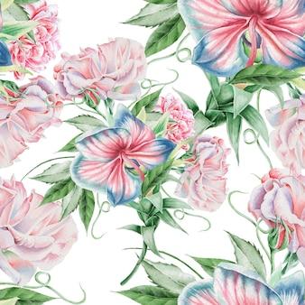 花と明るいシームレスパターン。ローズ。蘭。水彩イラスト。手で書いた。