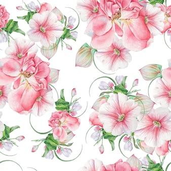 花と明るいシームレスパターン。ローズ。ペチュニア。花。水彩イラスト。手で書いた。